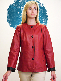 Higgs Leathers NEW!  Christine (ladies collarless Red Leather jackets)